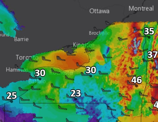 Projected wind gusts across Upstate New York at 5 p.m. today.