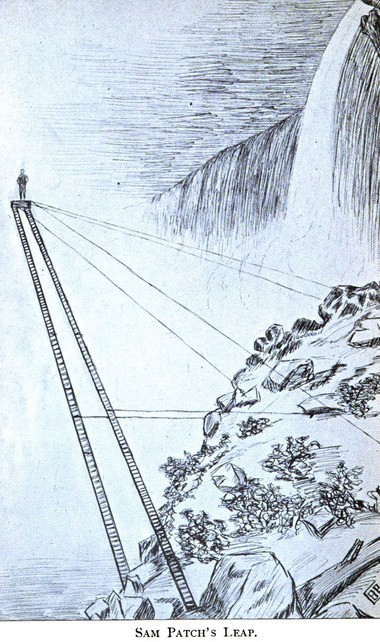 A drawing shows Sam Patch on a platform high above Niagara Falls before his October 1829 jump there.