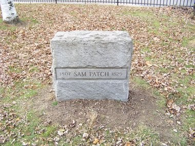 The grave of Sam Patch near Rochester. A proper headstone was not placed at the grave of the 19th century hero until 1948