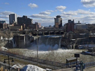 A view of what today are called the High Falls from the roof of the Genesee Brew House in Rochester.
