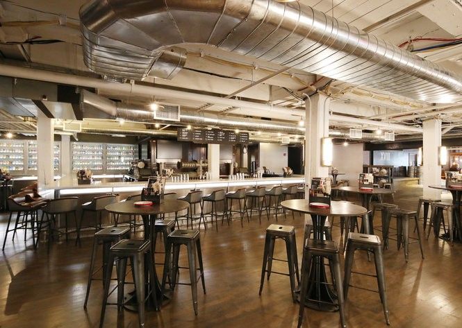 The tasting room at the Labatt Brew House, and 'innovation' brewery in Buffalo where new styles of Labatt's beer will be brewed and tested.