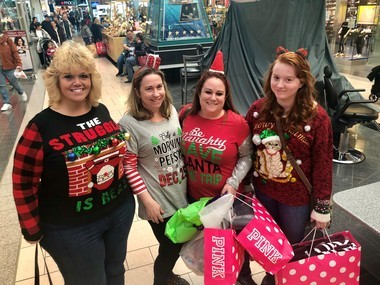 A group of friends and family from Fulton, (from left to right) Bonnie Metcalf, Wendy West, Naomi Abbott and Kyla Freeman, shop at Destiny USA on Black Friday.
