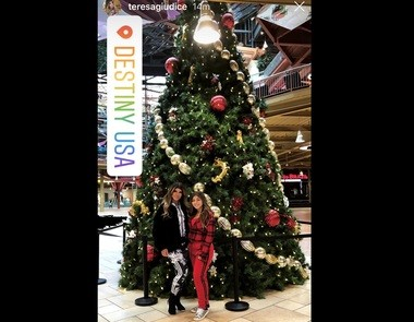 """Real Housewives of New Jersey"" star Teresa Giudice in at Destiny USA with her daughter Milania. Milania Giudice is filming her first music video at the mall."