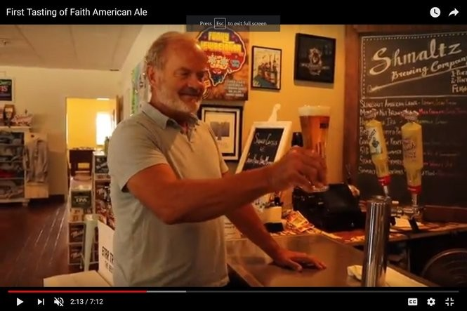 Screen shot from Youtube video about actor Kelsey Grammer's Faith American Brewing Co. of Margaretville, Delaware County. In this shot, he is sampling the beer in Shmaltz Brewing Co.'s former tasting room in Clifton Park, where the pilot batch was made.