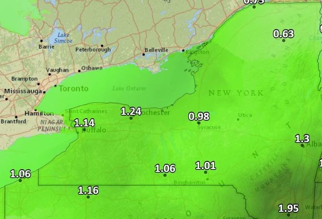Up to 2 inches of rain is expected Thursday and Friday in parts of Upstate New York.