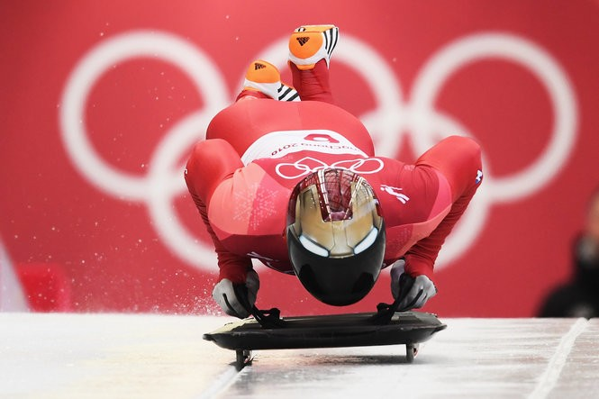 Yun Sungbin of Korea starts his final slide on his way to winning the Men's Skeleton on Feb. 16, 2018. (Quinn Rooney/Getty Images)
