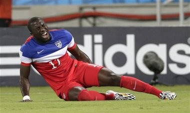 United States' Jozy Altidore pulled up lame in the first half of his team's 2-1 win over Ghana Monday in Natal, Brazil. (AP Photo/Dolores Ochoa)