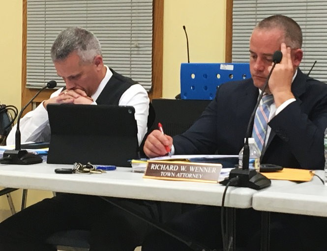 Phillipsburg Town Council President Bobby Fulper, left, and town Attorney Rich Wenner take part in town council's meeting Nov. 7, 2018, at Heckman House on Fisher Avenue. (Kurt Bresswein | For lehighvalleylive.com)