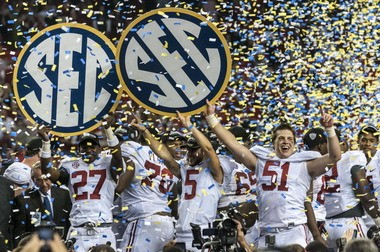 Alabama players celebrate a 32-28 victory over Georgia in the 2012 SEC Championship Game. (AL.com/Vasha Hunt)