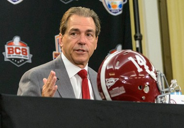 Alabama coach Nick Saban answers a question in his final press conference before the BCS Championship Game against Notre Dame. (AL.com/Vasha Hunt)