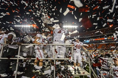 Alabama celebrates after the BCS National Championship NCAA football game, Monday, January 07, 2013, at Sun Life Stadium in Miami Gardens, Fla. The #2 Alabama Crimson Tide played the Notre Dame Fighting Irish for the BCS National Championship. (Vasha Hunt/vhunt@al.com)