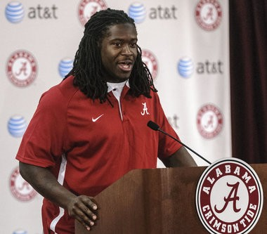 Eddie Lacy talks with the media as Alabama Coach Nick Saban announces the early entries to the NFL draft by Alabama running back Lacy, Alabama defensive back Dee Milliner and Alabama offensive lineman D.J. Fluker, Friday, January 11, 2013, at the Naylor Stone Media Suite in the Mal Moore Athletic Facillity in Tuscaloosa, Ala. (Vasha Hunt/vhunt@al.com)