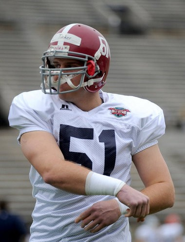 Alabama's Carson Tinker during practice for the Raycom College Football All Star Classic Monday, Jan. 14, 2013, at Cramton Bowl in Montgomery, Ala.(Julie Bennett / jbennett@al.com)