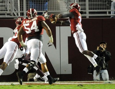 Alabama defensive back Robert Lester intercepts a Mississippi State pass in the end zone in the third quarter at Bryant-Denny Stadium in Tuscaloosa, Ala., Saturday, Oct. 27, 2012. (Mark Almond/ malmond@al.com)