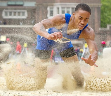Anthony Averett of Woodbury placed second in the High School Boys' Long Jump Championship at the Penn Relays. (Andrew Mills/The Star-Ledger)