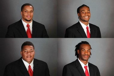 University of Alabama football players Brent Calloway, top left; Tyler Hayes, top right; D.J. Pettway, bottom left; and Eddie Williams, bottom right.