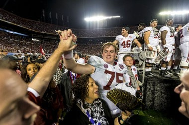 Alabama offensive lineman Barrett Jones (75) celebrates after the BCS National Championship NCAA football game, Monday, January 07, 2013, at Sun Life Stadium in Miami Gardens, Fla. (Vasha Hunt/vhunt@al.com)