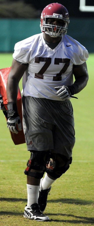 Arie Kouandjio is shown on the first day of Alabama's 2012 preseason camp. (The Birmingham News/Mark Almond)