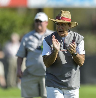 Alabama Coach Nick Saban cheers players in drills during the Crimson Tide's BCS Championship football practice, Thursday, January 03, 2013, at Barry University's soccer fields in Miami Shores, Fla. (Vasha Hunt/vhunt@al.com)