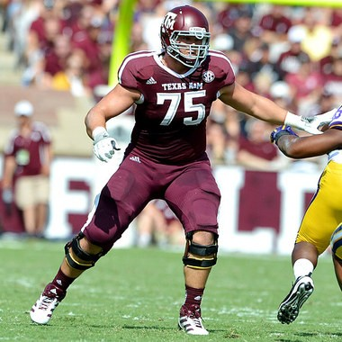 Jake Matthews bypassed the NFL to return for his senior season. He'll be moving to left tackle. (AP photos)