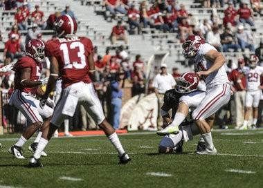 Alabama kicker Cade Foster (43) gets an extra point during the Crimson Tide's A-Day football game, Saturday, April 20, 2013, at Bryant-Denny Stadium in Tuscaloosa, Ala. (Vasha Hunt/vhunt@al.com)