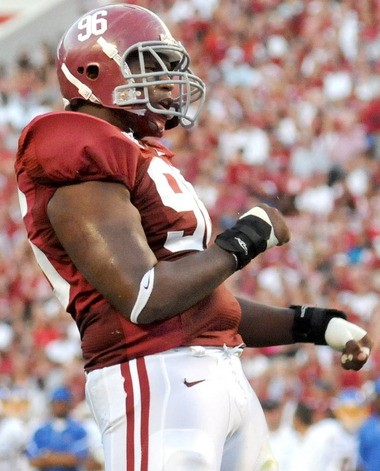 Alabama defensive lineman Luther Davis (96) celebrates a second-quarter tackle against San Jose State at Bryant-Denny Stadium in Tuscaloosa, Ala., Sat., Sept. 4, 2010. (The Birmingham News/Mark Almond)