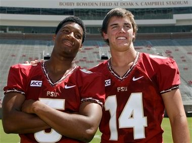 Jacob Coker, right, poses with Jameis Winston during Florida State's media day last August. (Associated Press)