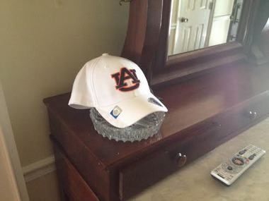 The Auburn hat Rashaan Evans didn't pick on National Signing Day remains in the family's home. (Andrew Gribble/agribble@al.com)