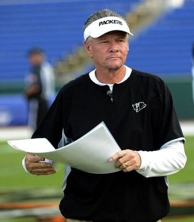 Colquitt County Coach Rush Propst is shown before their game at the Hoover Metropolitan Stadium in Hoover, Ala. Friday, Aug. 30, 2013.