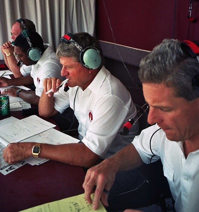 Alabama assistant coaches (from left to right) Jim Fuller, Woody McCorvey, Bill Oliver and Ellis Johnson are shown in the booth during the 1992 Vanderbilt game. (Photo courtesy of the Paul W. Bryant Museum)
