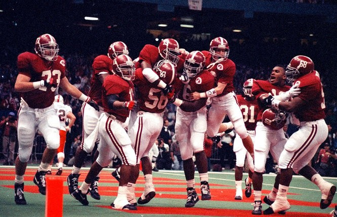 Alabama players celebrate a touchdown during the 1993 Sugar Bowl against Miami. (Photo courtesy of the Paul W. Bryant Museum)