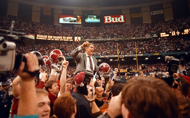Alabama football coach Gene Stallings is carried off the field after beating Miami in the 1993 Sugar Bowl to win the national championship. (Photo courtesy of the Paul W. Bryant Museum)