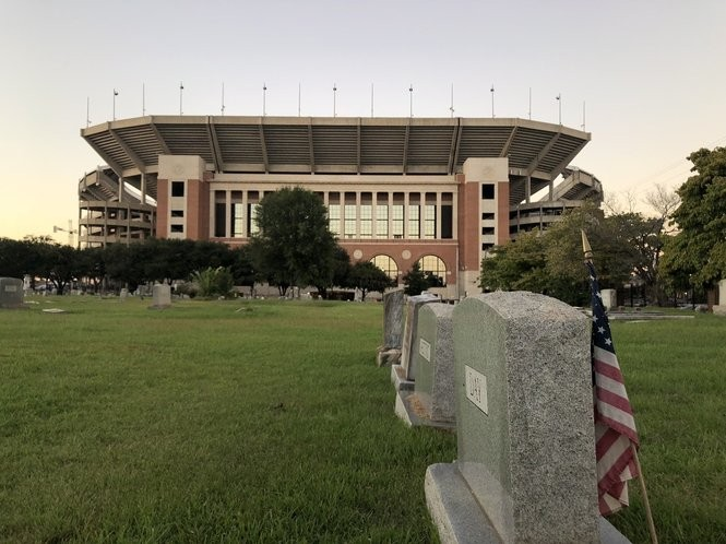 Evergreen Cemetery, across the street from Bryant-Denny Stadium.