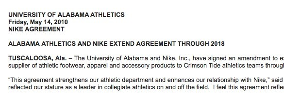 The news release Alabama sent to announce 2010 contract extension with Nike.