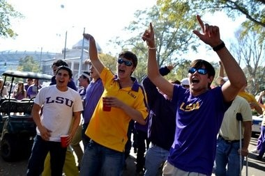 """A group of LSU fans roam the campus before the last matchup between the two teams. Chances are they were screaming, """"Tiger Bait!"""" (Photo, al.com)"""