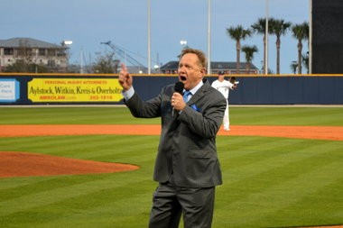 "Pensacola Blue Wahoos owner Quint Studer leads the crowd in saying ""play ball"" on opening day at Community Maritime Park Thursday, April 4, 2013. (Dennis Pillion 