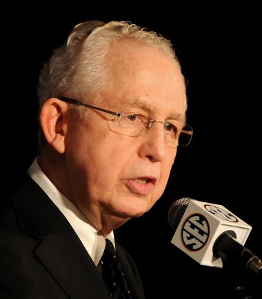 """SEC Commissioner Mike Slive says that """"professionalizing"""" college athletics would negatively impact the environment and put too much emphasis on individuals."""