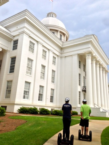 The Segway tour follows sidewalks up to the front steps of the Alabama State Capitol.