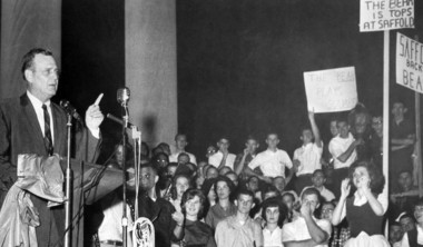 """March 20, 1963: University of Alabama football coach Paul """"Bear"""" Bryant speaks to about 4,000 students who staged a rally on the UA campus in Tuscaloosa. The students pledged full support to Bryant, who was accused by the Saturday Evening Post of rigging Alabama's 35-0 win over Georgia."""