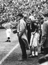 "Jan. 1, 1961: University of Alabama football coach Paul ""Bear"" Bryant and quarterback Pat Trammell face Arkansas at the Sugar Bowl in New Orleans."