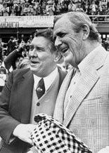 "University of Alabama football coach Paul ""Bear"" Bryant and Auburn University football coach Ralph ""Shug"" Jordan at the 1975 Iron Bowl."