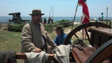 Randy Long of Lawrenceburg, Tenn. mans the Confederate artillery at Fort Gaines for the Battle of Mobile Bay 150th anniversary commemoration. (Glen Flanagan/gflanagan@al.com)