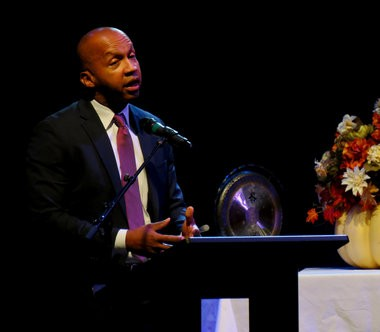 Lawyer Bryan Stevenson speaks during the 2014 Exploring Faith Intersections conference organized by the Interfaith Mission Service in Huntsville, Ala., Nov. 2-3, 2014.