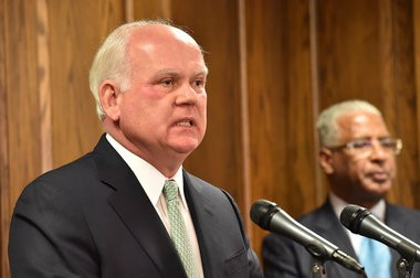UAB President Ray Watts held a press conference Friday Janruary 9, 2015 in the Administration Building on the downtown Birmingham, Alabama campus. Watts announced the formation of four committees one of them will evaluate his decision to eliminate the football program. (Frank Couch\fcouch@al.com)
