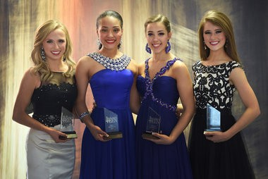 Miss Alabama's Outstanding Teen 2015 finalists Mary Grace Long, 3rd runner-up; Tiara Pennington, 1st runner-up; Emily O'Rear, 2nd runner-up; and Riley Kate Lancaster, 4th runner-up; pose for a picture after the the 2015 Miss Alabama's Outstanding Teen Pageant in Sylacauga, Ala. Sunday, March 8, 2015. (Tamika Moore/tmoore@al.com)