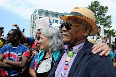 Marchers arrive Wednesday, March 25, 2015, at the Capitol in Montgomery, Ala. Marchers walked from the City of St. Jude to the Capitol to re-create the final portion of the Voting Rights March that occurred 50 years ago today. (Julie Bennett/ jbennett@al.com)