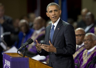 President Barack Obama speaks during services honoring the life of Reverend Clementa Pinckney, June 26, 2015, at the College of Charleston TD Arena in Charleston, S.C. (AP Photo/Carolyn Kaster)