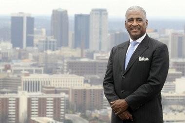Birmingham Mayor William Bell with Birmingham city skyline Friday January 22, 2010. (Joe Songer/jsonger@al.com)