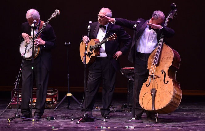Bassist Brad Ryan dabs as Three On A String performs during the Lyric Theatre's grand reopening, January 14, 2016 in downtown Birmingham. (Tamika Moore/tmoore@al.com)