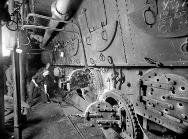 The massive coal-fired boilers on the ship required tons of coal every day. The ship could carry about a million pounds. (Courtesy U.S. Navy)